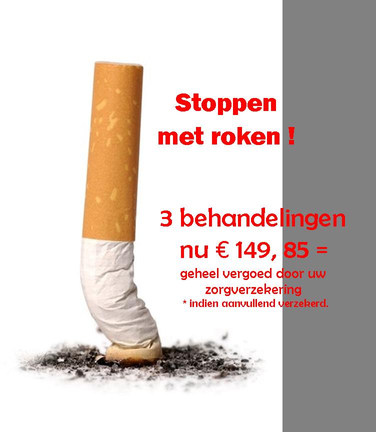 Stoppen met roken. Niet alleen in STOPtober belangrijk!!  3 behandelingen zijn bij 90 % voldoende om te stoppen.